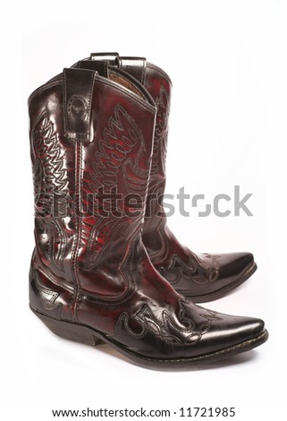 Pair of cowboy boots isolated on white background - stock photo