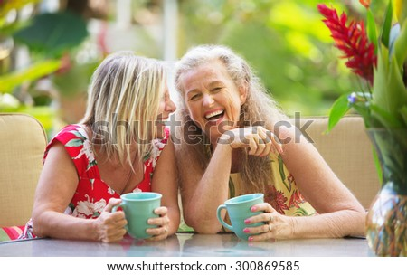 Pair of cute middle aged female friends laughing - stock photo