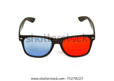 Pair of 3d Red / Blue Anaglyph Glasses Isolated on a White Background - stock photo