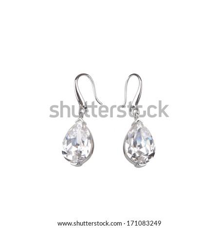 Pair of diamond earrings, isolated on white - stock photo