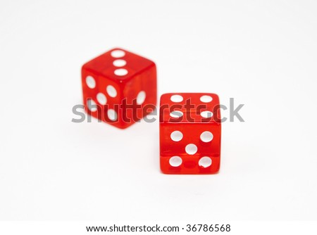 Pair of dice, lucky seven, isolated on white background, shallow DOF - stock photo