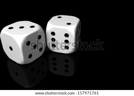 pair of dice on black background - stock photo