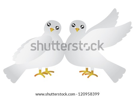 Pair of Doves Lovebird for Valentines Day Anniversary or Wedding Illustration Isolated on White Background Raster - stock photo