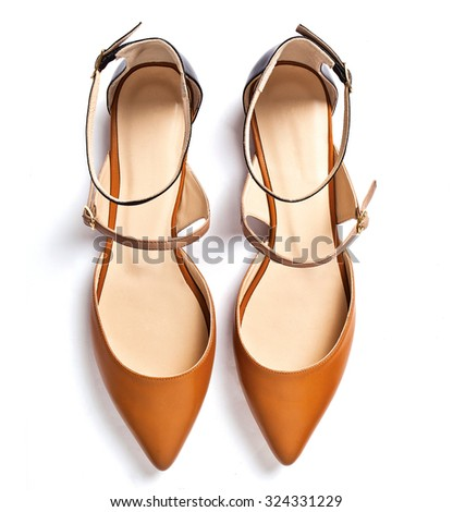 Pair of dress women shoes isolated over white - stock photo