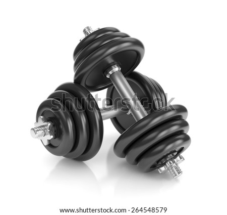 Pair of dumbbells isolated on white background. Fitness, bodybuilding and healthy lifestyle concept. - stock photo