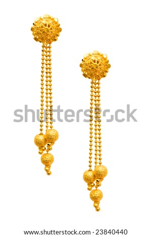 Pair of earrings isolated on the white background - stock photo
