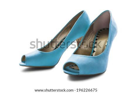 Pair of  elegant blue textile high heeled shoes on white background - stock photo