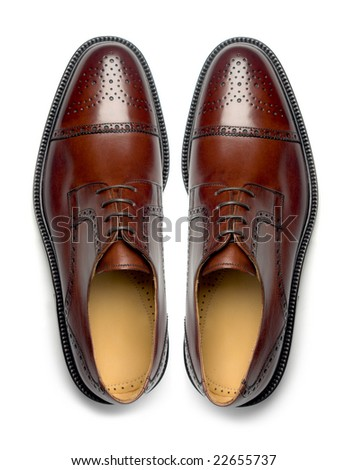 Pair of elegant men's leather shoes, top view - stock photo