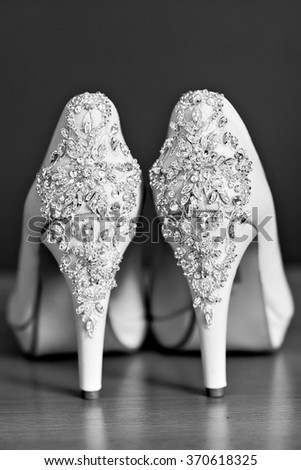pair of elegant shoes on high heels - stock photo