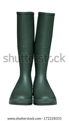 Pair of Farmers Green Wellington Boots isolated against a white background - stock photo