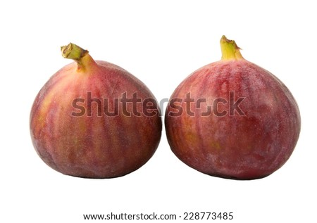pair of figs isolated on a white background - stock photo