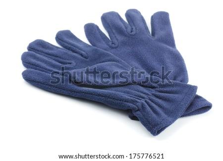 Pair of fleece gloves isolated on white - stock photo
