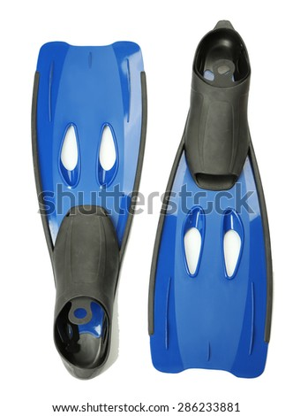 Pair of flippers isolated on white - stock photo
