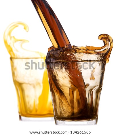 pair of Fresh cola drink background with splash isolated on a white - stock photo