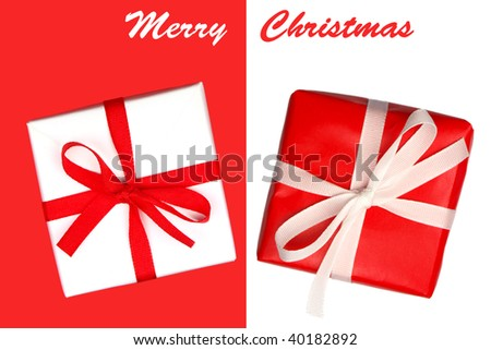 Pair of gifts isolated on red and white - stock photo