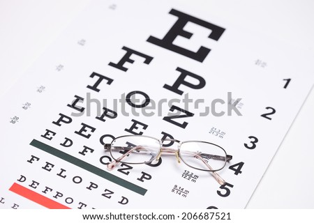 Pair of glasses on an eyesight test with the focus on the glasses  - stock photo