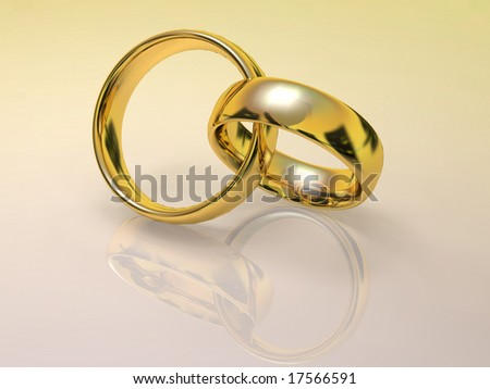 Pair of Gold wedding rings laced.
