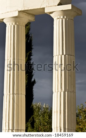 Pair of greek ancient pillars of doric order - stock photo