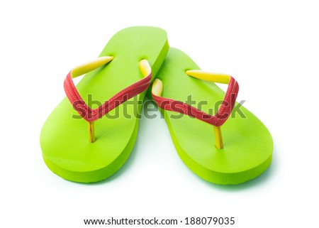 Pair of green sandal isolated on white background - stock photo