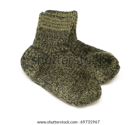 pair of green woolen socks - stock photo