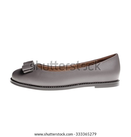 Pair of grey female shoes over white background - stock photo