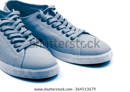 Pair of Grey Gym Shoes isolated on white background. Light Blue Toned