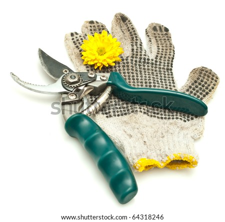 Pair of grubby gardening gloves & shears isolated against white background. - stock photo