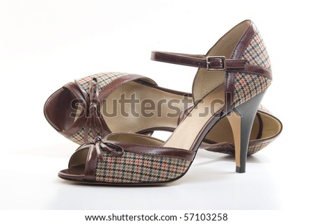 Pair of high heel peep toe shoes - stock photo
