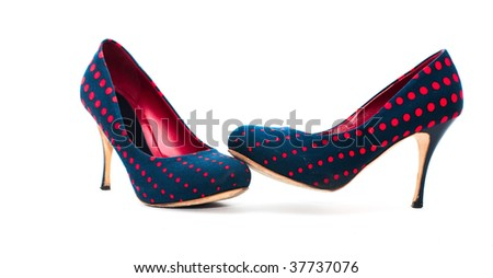 Pair of high-heeled blue and red shoes isolated on white - stock photo