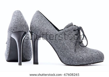 Pair of high-heeled female shoes - stock photo