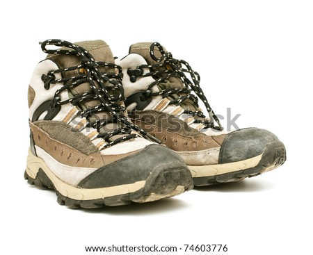 pair of hiking shoes - stock photo