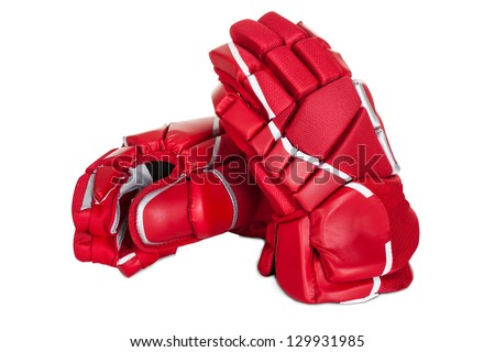 Pair of hockey gloves. Isolated on white background