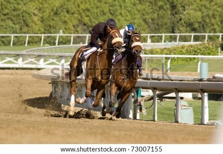 Pair of jockeys training horses on track in preparation for race - stock photo