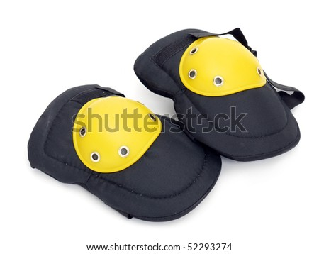 Pair of knee protectors shot over white background - stock photo