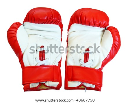 Pair of leather boxing gloves for fight - stock photo