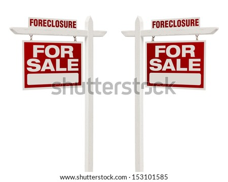 Pair of Left and Right Facing Foreclosure For Sale Real Estate Signs With Clipping Path Isolated on White. - stock photo