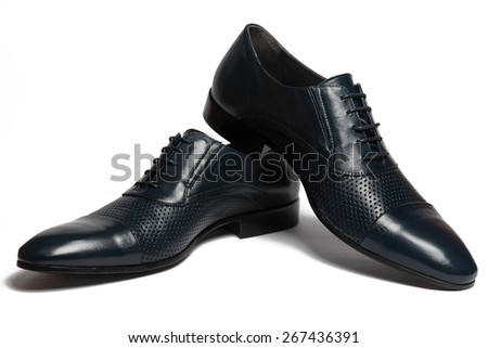 Pair of male classic leather shoes isolated on the white background - stock photo