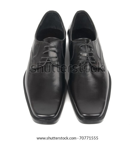 Pair of man's black shoes isolated on white background - stock photo