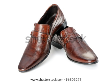 Pair of man's shoes. A red skin. It is isolated on a white background - stock photo