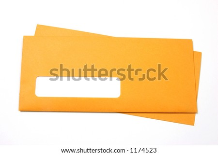 Pair of manila envelopes with a blank address space - stock photo