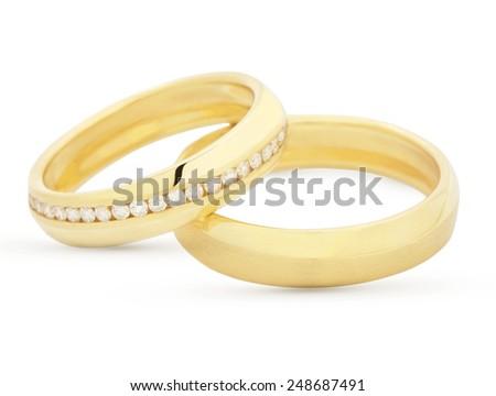 Pair of matching wedding rings - stock photo