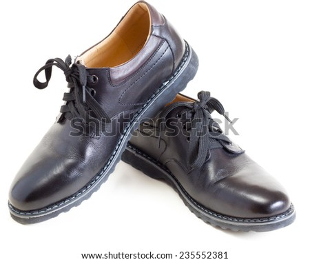 pair of men's fashion black leather shoes - stock photo