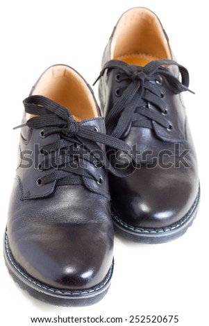 pair of men's leather black shoes - stock photo