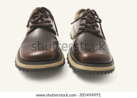 Pair of Men's Shoes on Seamless Background - stock photo