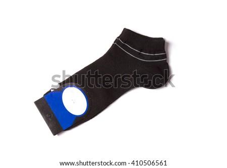 pair of men's socks on a white background - stock photo