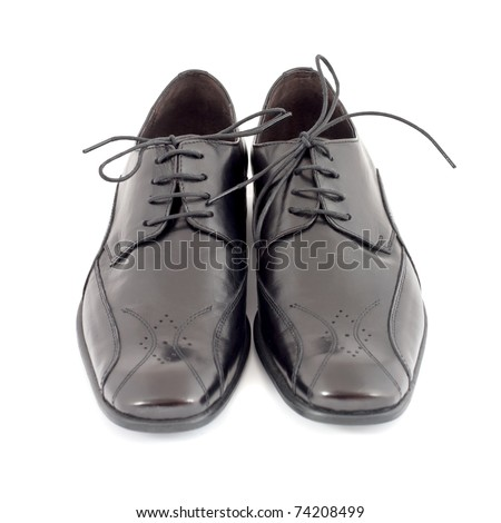 Pair of mens black shoes isolated on white background