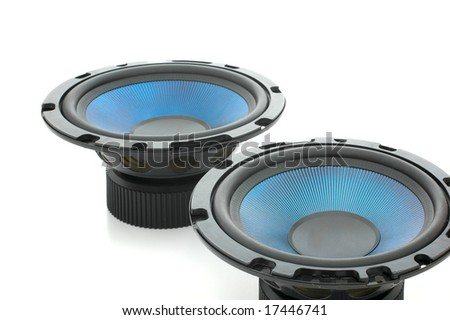 Pair of mighty audio speakers isolated on white - stock photo