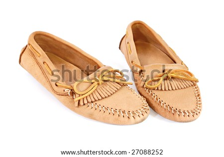 pair of moccasins isolated on white background