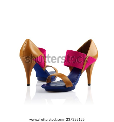 Pair of modern fashionable women shoes shot in studio - stock photo