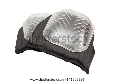 pair of new knee protectors for work over white background - stock photo